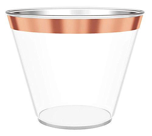9 oz Rose Gold Rimmed Plastic Wine Glasses for Parties - 100 pack Clear Plastic Cups Match Your Rose Gold Party Decorations for Birthdays, Weddings, Bachelorette Party and Baby Shower
