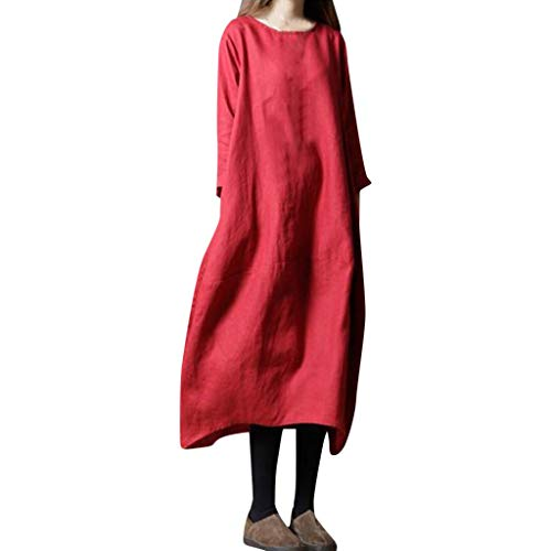 FAPIZI Women Linen Solid Tunic Dress Casual Apron with Pockets Japanese Style Pinafore Maxi Dress Work Skirt Red ()