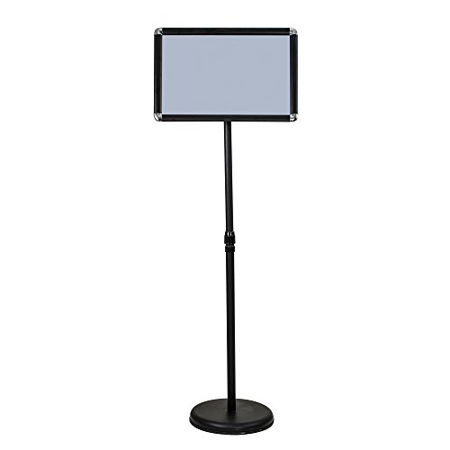 ShowMaven A3 Poster Stand, Vertical/Horizontal Pedestal Sign Holder with Height Adjustable with Steel Base, Aluminium Frame, Floor Stand Display for Exhibition Library Restaurant (Black) (Frame Poster Pedestal)