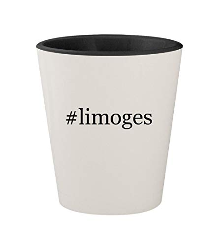 #limoges - Ceramic Hashtag White Outer & Black Inner 1.5oz Shot Glass