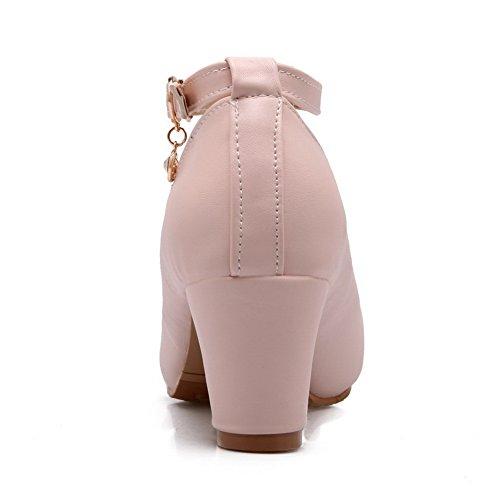 Balamasa Ladies Fibbie In Metallo Tacchi Chunky Tomaie Basse Scarpe In Uretano Rosa