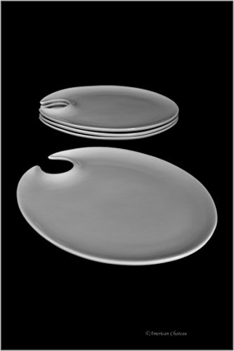 (Set 4 White Porcelain Wine & Cheese Cocktail Party Mingling Plates)