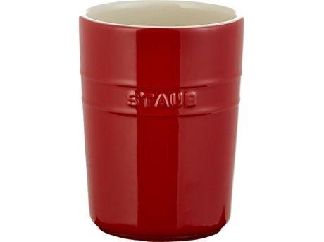 Staub Ceramic Tall Utensil Holder Crock with Silicone Bottom, Cherry Red