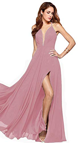 YMSHA Women's Halter Spaghetti Straps Back V-Neck Straps Evening Prom Dresses with Slit Long Chiffon Backless Party Gowns Mauve 04
