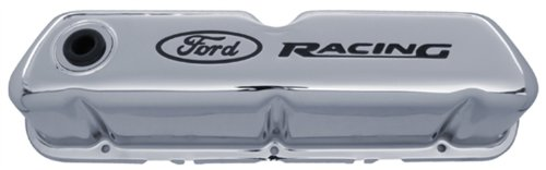 Proform 302071 Stamped Steel Valve Cover with Chrome Emblem for Ford