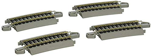 "Bachmann Trains - Snap-Fit E-Z TRACK ONE-THIRD SECTION 18"" RADIUS CURVED (4/card) - NICKEL SILVER Rail With Gray Roadbed - HO Scale"