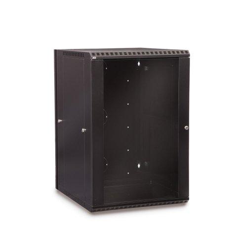 Doors Audio Enclosed Rack - 18U LINIER Swing-Out Wall Mount Cabinet - Glass Door