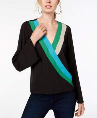INC International Concepts I.N.C. Colorblocked Surplice Top (Deep Black, Small) from I.N.C. International Concepts