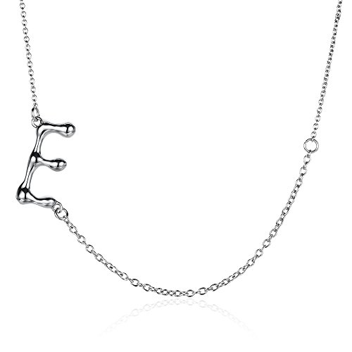KEB1 Stainless Steel Sideways Necklace Silver Initial 26 Letters Alphabet Personalised Charm Pendant Necklaces from A-Z