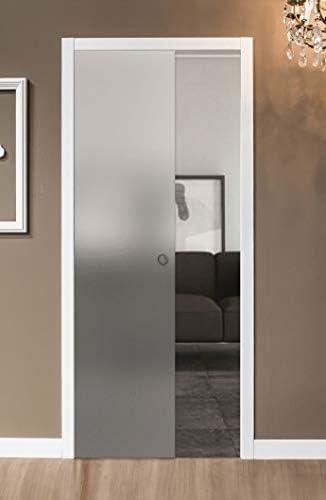 Puerta corredera desplegable de cristal satinado 90 x 210: Amazon.es: Bricolaje y herramientas