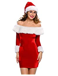 YHBAO Women's 2 Piece Mrs. Claus Costume Sexy Santa Cosplay Costume