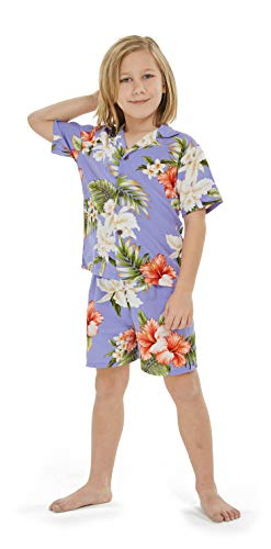 aad881797 Made in Hawaii Luau Aloha Shirt and Shorts Boy Cabana Set Orchid and  Hibiscus Purple 4