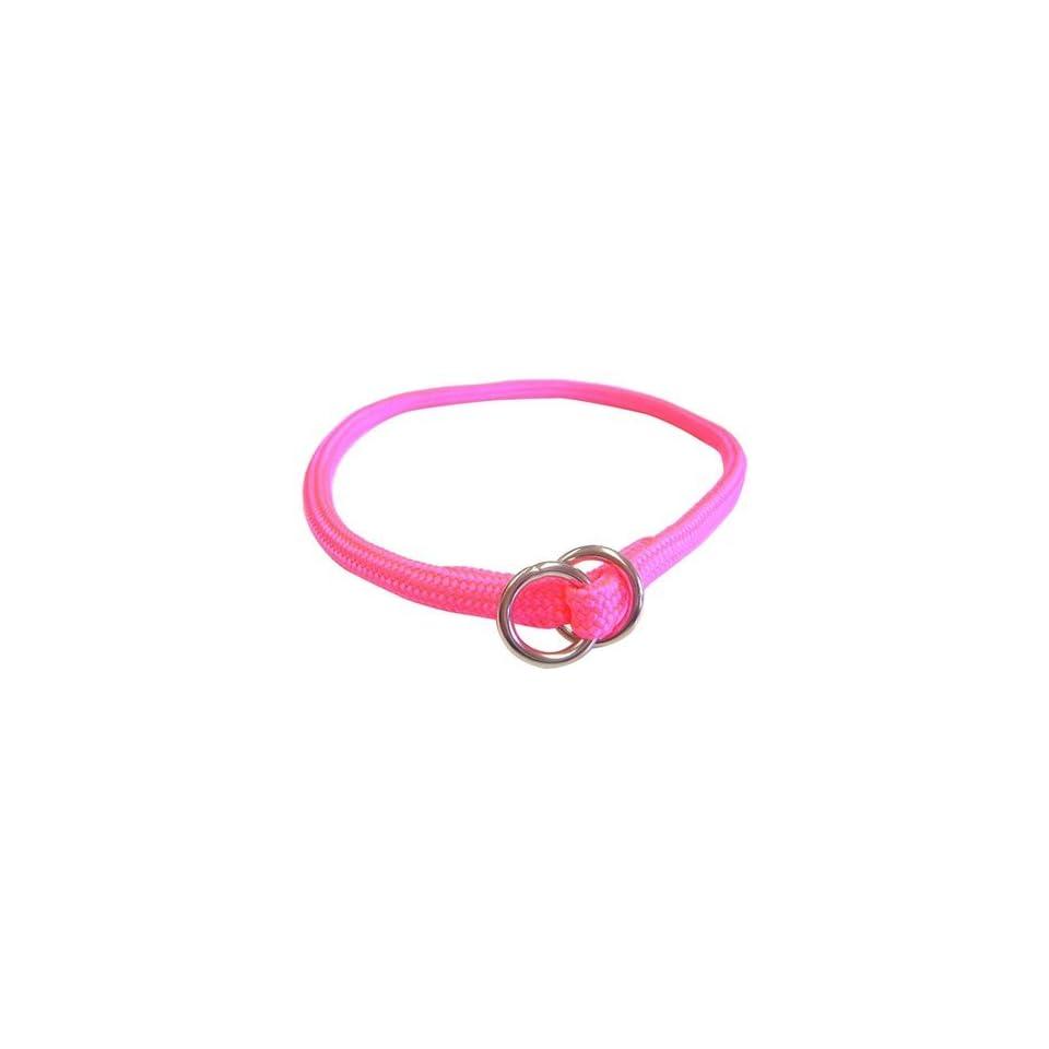 Hamilton Round Braided Choke Nylon Dog Collar   Hot Pink   3/16 x 14