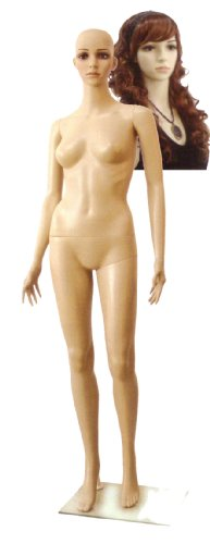 Full-Size Fleshtone Female Mannequin with Wig & Base by Plastic Mannequins