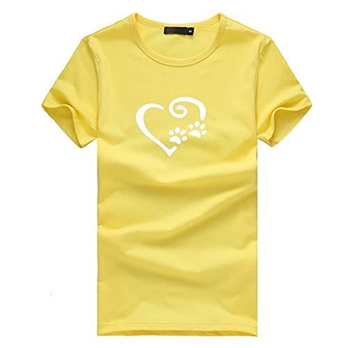 Sunhusing Women Cute Dog Paw Love Heart Print Casual Joker Top Short Sleeve T-Shirt Yellow