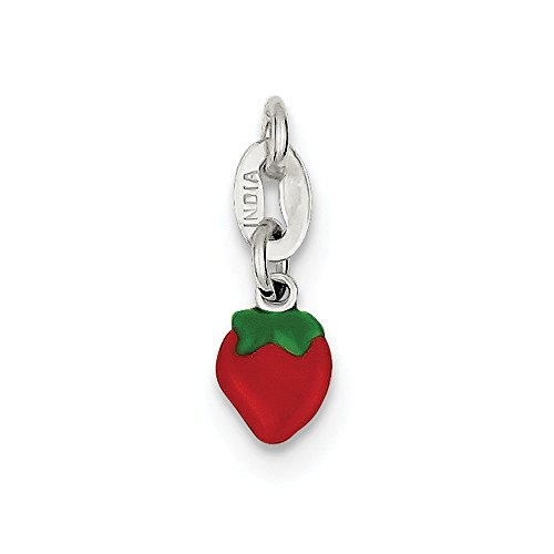 925 Sterling Silver Enameled Strawberry Charm (8mm x 6mm)