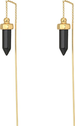 House of Harlow 1960 Women's Crystal Threader Earrings Gold/Black Tourmaline One Size (Jewelry Gold And Black Tourmaline)