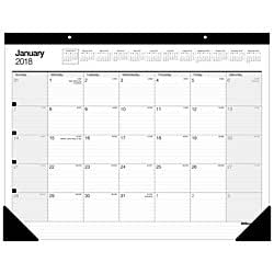 Office Depot(R) Brand Large Monthly Desk Pad Calendar, 22in. X 17in., 30% Recycled, White, January To December 2018