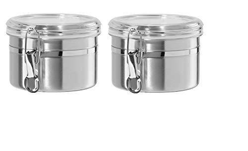 (Oggi 26-Ounce Stainless Steel Canisters with Airtight See Thru Clamp Lids & Silicone Gaskets, Set of 2)