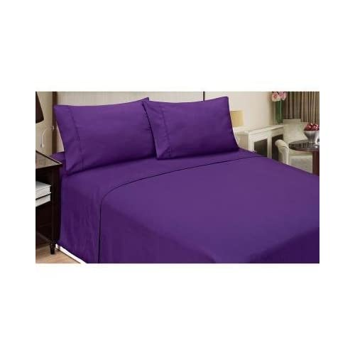 Cheap Laxlinen 350 Thread Count 100% Egyptian Cotton Super Quality 1PC Flat Sheet(Top Sheet) Three Quarter/Small Double, Purple Solid hot sale