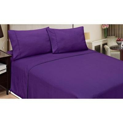 Laxlinens Drap Plat avec 2 taies d'oreiller suppléHommestaire simple Long, Violet massif 350 fils en coton égypcravaten