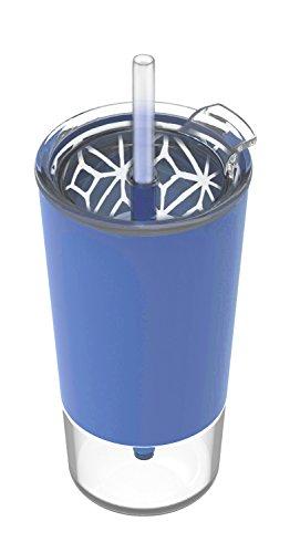 Ello Tidal Glass Tumbler with Straw, Denim, 20 oz