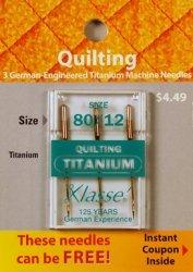 Klasse' Quilting Titanium Needles 80/12 (Klasse Quilting Needles compare prices)