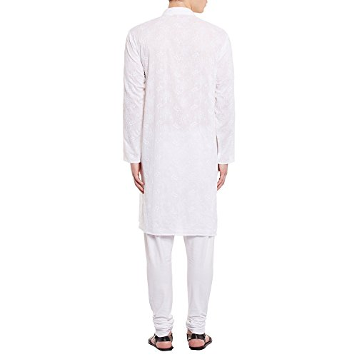 ShalinIndia Mens Embroidered Cutwork Cotton Kurta With Churidar Pajama Trousers Machine Embroidery,White Chest Size: 42 Inch by ShalinIndia (Image #1)