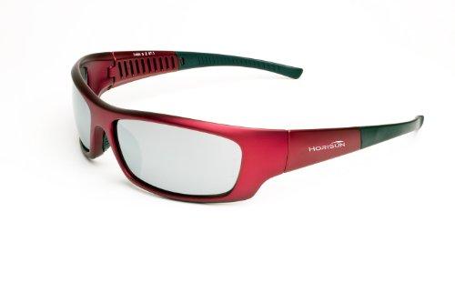 Z87Horisun 7485 Safety Glasses, Satin Red Frame/Smoke Silver Mirror Lens