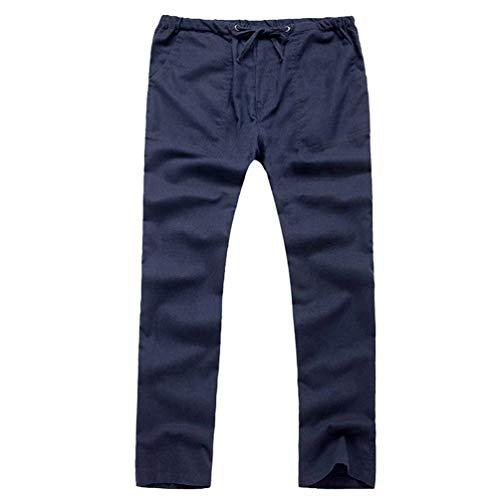 Huixin Casual Drawstring Loose Comfortable Navy Trousers Long Pants Blau Linen Summer Look Blend Stretch Men's 11UfqRA