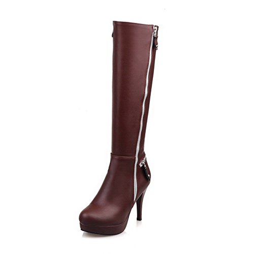 High Material Women's Boots Solid top Allhqfashion Soft Zipper High Brown Heels CFw6ngXpq