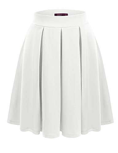Doublju Elastic Waist Flare Pleated Skater Midi Skirt (Plus size available) WHITE 2XL