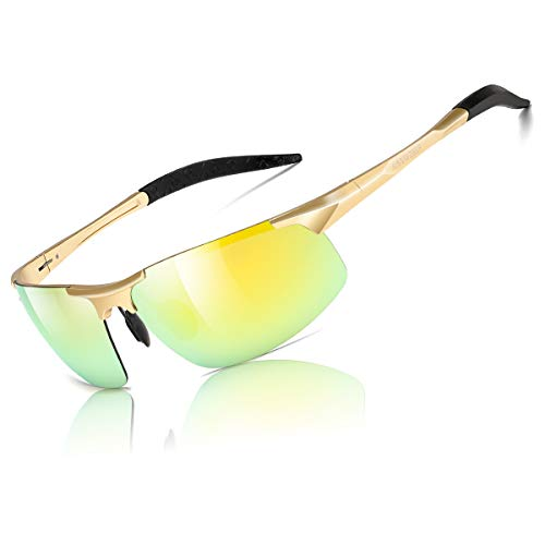 aisswzber Mens Sports Polarized Sunglasses Driving Metal Frame UV Protection Sunglasses for Men ()