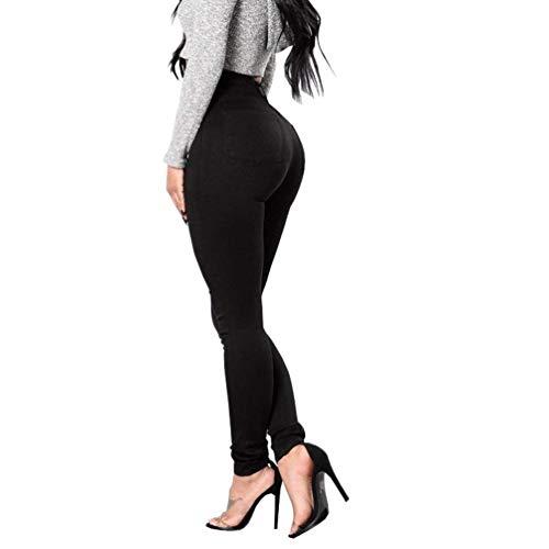 Moda Skinny Donna Vita Jeans Chic Pantaloni Tinta Bott Unita Alta Schwarz Stretch Denim IZqw5Sd1n5