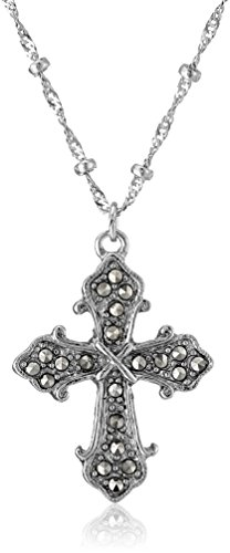 (Symbols of Faith Silver-Tone Imitation Marcasite Cross Pendant Necklace, 16