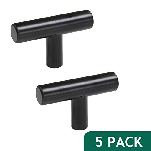 (Probrico 2 inch Flat Black Modern Cabinet Hardware Cupboard Handle Drawer Pull Kitchen Cabinet T Bar Knobs, 5 Pack)