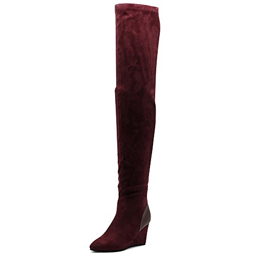 Ollio Wedge Long Suede Thigh Stretch High Women's Heel Boots Shoe Faux Wine wB0rwqx