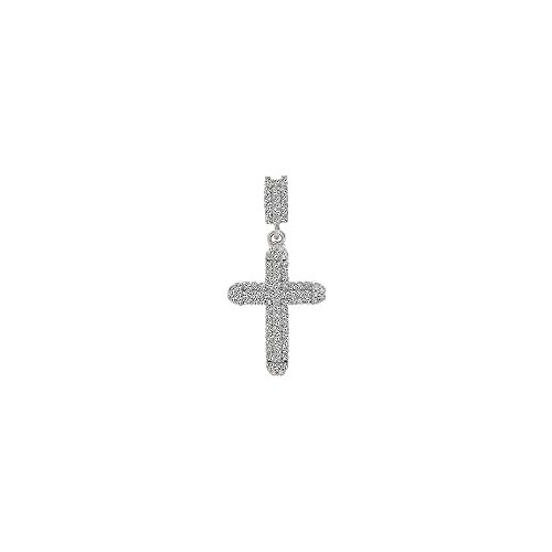 0.25 Carat Diamond Cross Pendant in 14K White Gold Avital /& Co