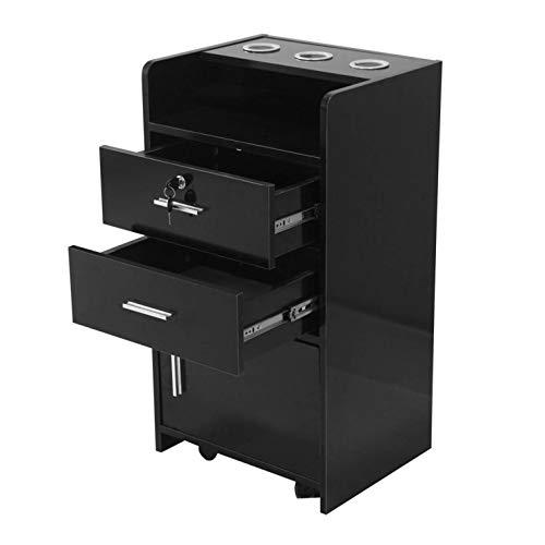 osea Salon Beauty Cabinet Trolley Cart Hair Dryer Holder with Rolling Wheels&Lockable Drawer