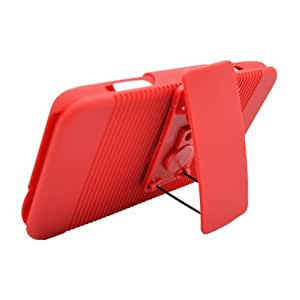 Reversible Rubberized Hard Shell Ribbed Design Case w/ Holster & Clip for Motorola Droid 3 XT862 (Verizon), Red