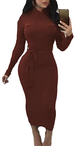 Dress Sleeves Bodycon Pencil Turtleneck with Party Jaycargogo Belt Women Long Brown Club wq8F77Zf