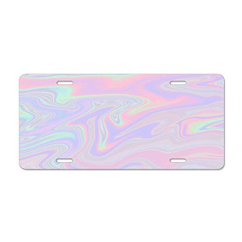 - Personalized Novelty License Plates, Custom Decorative Front for US Vehicles, 12 x 6 Inch - Iridescent Flow