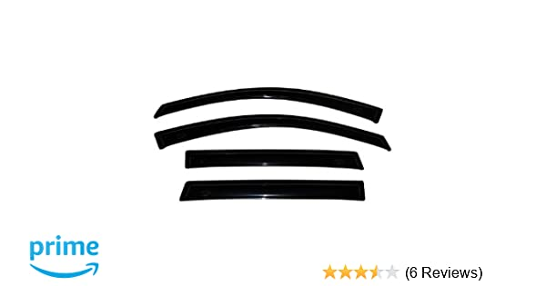 TuningPros WSV3-263 3.0mm Sunroof Moonroof and Out-Side Mount Window Visor Deflector Rain Guard Dark Smoke 5-pc Set