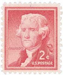 #1033 - 1954 2c Thomas Jefferson U.S. Postage Stamp Plate Block ()