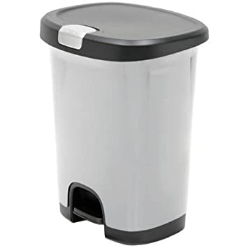 Superior Hefty 7 Gal Textured Step On Trash Can With Lid Lock And Bottom Cap