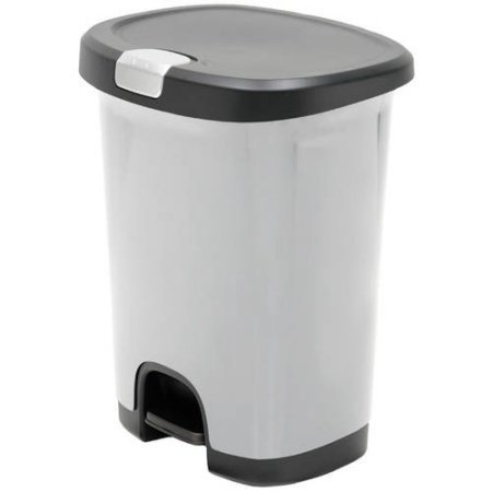 - Hefty 7-Gal Textured Step-On Trash Can with Lid Lock and Bottom Cap