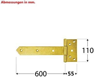 Kreuzgeh/änge 65,5x11cm 4mm T-Scharniere Torband T/ürb/änder T/ürscharnier Heavy duty