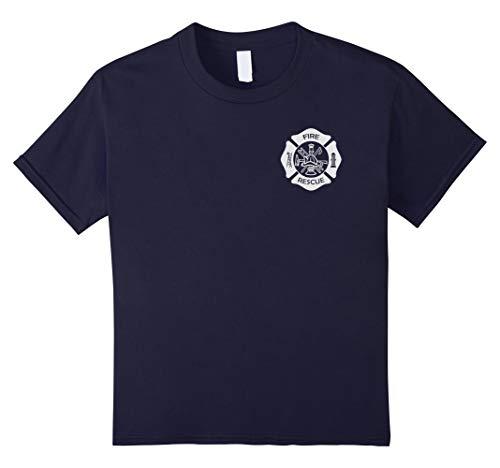 Fire Rescue Uniforms - Kids Firefighter Uniform T-Shirt - Official Firemen Gear 6 Navy