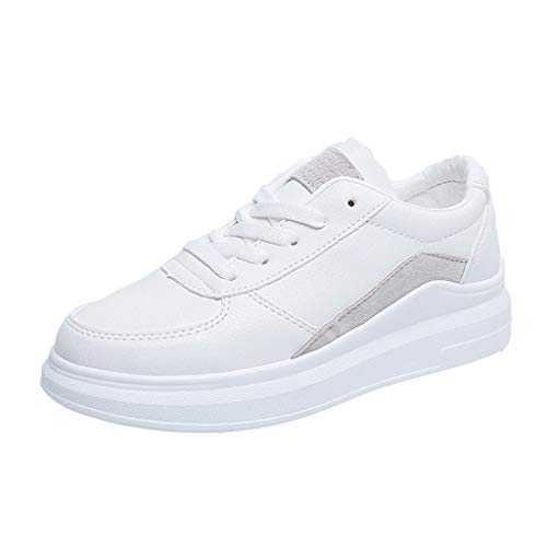 (2019 New Women Wedge Simple White Shoes Platform Ladies Sports Shoes Tennis Casual Comfort for Walking Student Sneakers (Gray, Size:36=US:5.5))