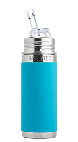 Pura Kiki 9 oz / 260 ml Stainless Steel Insulated Bottle with Silicone Straw & Sleeve, Aqua (Plastic Free, NonToxic Certified, BPA Free)